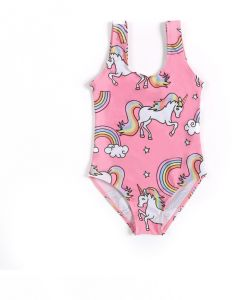 8f3b8c468f Pink One-piece Swimsuit Unicorn Print Sweet Cute Girls Swimsuit for 9-10Y