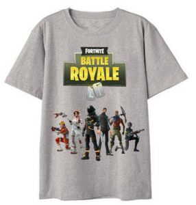 58791056 Fortnite 3D Printed Trend Youth Short Sleeve sweat-absorbing T-shirt Unisex  Grey L