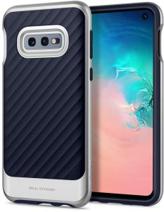 new products f1cc8 d65cb Spigen Samsung Galaxy S10e Neo Hybrid cover  case - Arctic Silver with  Midnight Blue TPU back