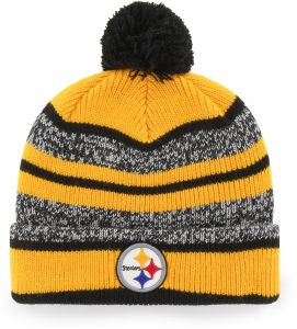 newest collection e450a d655d OTS NFL Pittsburgh Steelers Huset Cuff Knit Cap with Pom, Black, One Size
