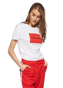 3ac9ab144a2 Calvin Klein J20J208600 T-Shirt for Women - Bright White Racing Red