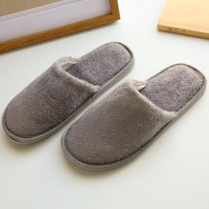 1ae83bf202d 1 pair Of Indoor Home Slippers Warm Wooden Floor Thick Cotton Slippers  Autumn And Winter Couples Slippers Makalong Color HairDisposable Slippers