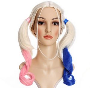 Anime Suicide Squad Batman Joker Harleen Quinzel Wig Cosplay Costume Harley  Quinn Women Hair Halloween Party Wigs COS Wigs For girls 071d884d9e