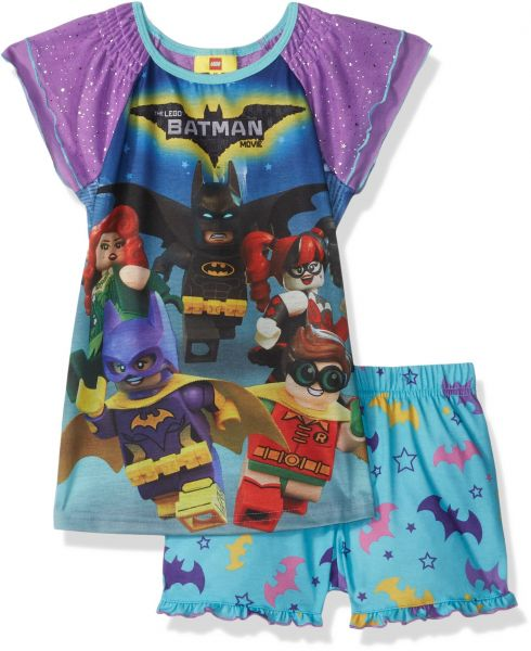 LEGO Batman Big Girls Batgirl 2 Pc Pj Short and Sheer Sleeve Top 90186398b