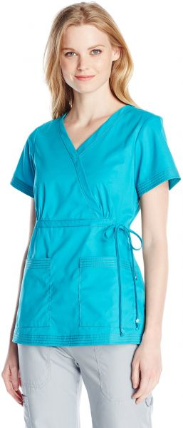 01f0b38a4ed KOI Women's Katelyn Easy-Fit Mock-Wrap Scrub Top with Adjustable Side Tie,  Turquoise, X-Large. by KOI, Uniform - 411 ratings