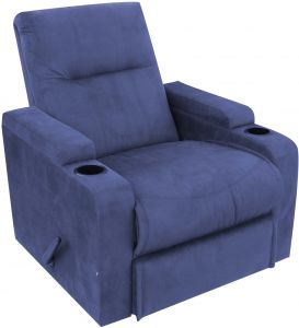 Cinematic Recliner Chair With Cup Holders Controllable Back Blue