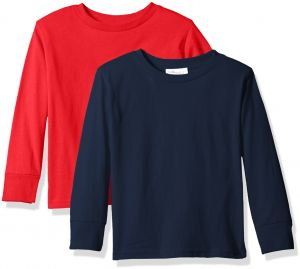 bbc12a911 Clementine Baby Girls' Little Boys' Everyday Toddler Long Sleeve T-Shirts  Crew 2-Pack, Navy/Red, 3T