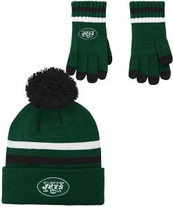 b541dff5 NFL Youth Boys (8-20) 2 Piece Knit Hat and Gloves Set-Hunter, New York Jets-One  Size
