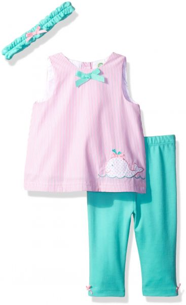e83416fe2 Little Me Baby Girls' 3 Piece Woven Tunic Set with Headband, Pink/Multi, 6  Months | Souq - UAE