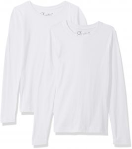 0cd5c37e2 Clementine Big Girls' Everyday T-Shirts Long Sleeve Crew 2-Pack,  White/White, XL