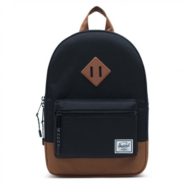 c03dd16cc Herschel Heritage Kids Casual Backpack - Polyester, Black/Saddle Brown