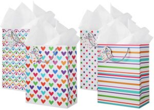 Gift Bags 20 Pack Assorted 4 Designs Bag Set With Card And Happy Birthday Tag Use As Wrapping Valentines Day Present