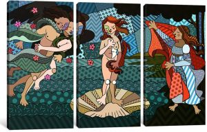 60 x 40//0.75 Deep Canvas Print by DarkLord iCanvasART 3 Piece The Birth of Venus 2 After Sandro Botticelli