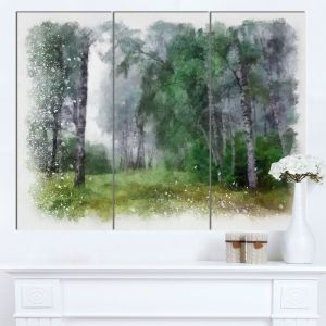 Designart Mt13729 3p Green Forest Watercolor Drawing Large Landscape Glossy Metal Wall Art Green 36x28