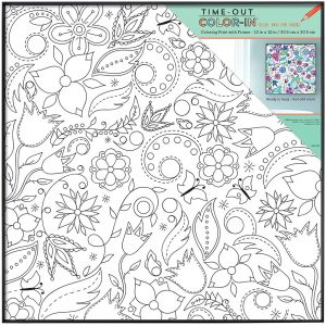 MCS Time-Out Color-In 12x12 Inch Framed Adult Coloring Page with Floral Whimsy Design (65635)