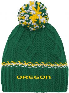 a51bd3ea4e8728 NCAA by Outerstuff NCAA Oregon Ducks Youth Girls Cable Knit Cuffless Hat  w/Pom, Dark Green, Youth One Size