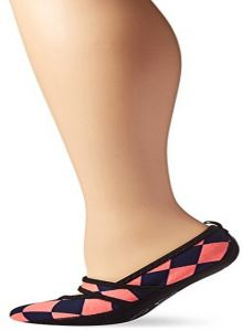 Pink and Black Houndstooth Nufoot Indoor Girls Shoes Ballet Flats X-Small 2 Count