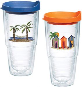 ed0eca57a88 Tervis 1132347 Tropical Getaway Boxed (2 Pack) Insulated Tumbler with Emblem  and Assorted Lid, 24 oz, Clear