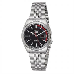 029c0bfb4 Seiko 5 Men's Black Dial Stainless Steel Automatic Watch - SNK375J1