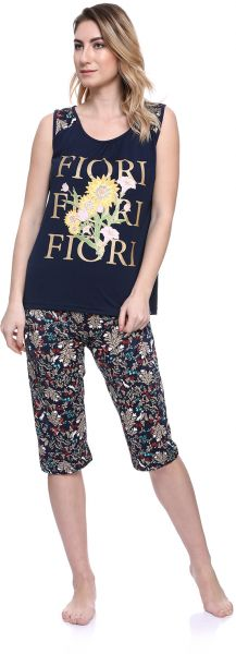 e5aa0ba190fc Kady Cotton Sleeveless Floral Cropped-Pants Pajamas for Women - Navy
