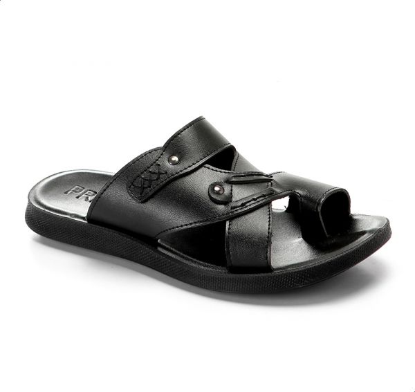 345f6fe30c54 Price1 Leather Multi Cross-Strap Toe-Post Arabic Slippers for Men - Black