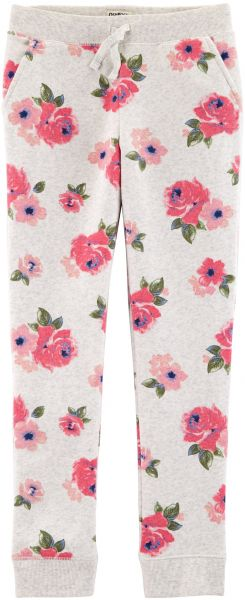 525c36f17 Osh Kosh Girls' Kids Fleece Jogger Pants, Grey Floral, 10-12 | Souq ...