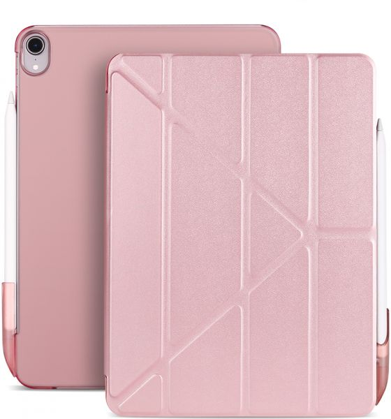 "For New iPad Pro 11 Case with Pencil Cap, Multi-fold iPad Case, Hard PC Back Cover for Apple iPad Pro 11"" 2018 Release,Pink"