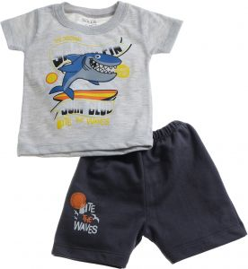 84942ecb914 Skills Shark Print Cotton T-shirt and Shorts Set for Boys - Heather Grey  and Black