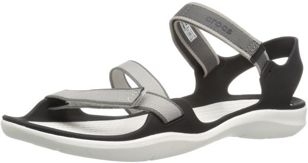 9df0f77be80d1 Crocs Women's Swiftwater Webbing W Flat Sandal, Pearl White, 6 M US