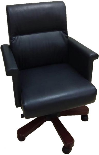 Kivik Faux Leather Middle Back Managers Chair with Armrest, Height Adjustable Chair, Dark Blue