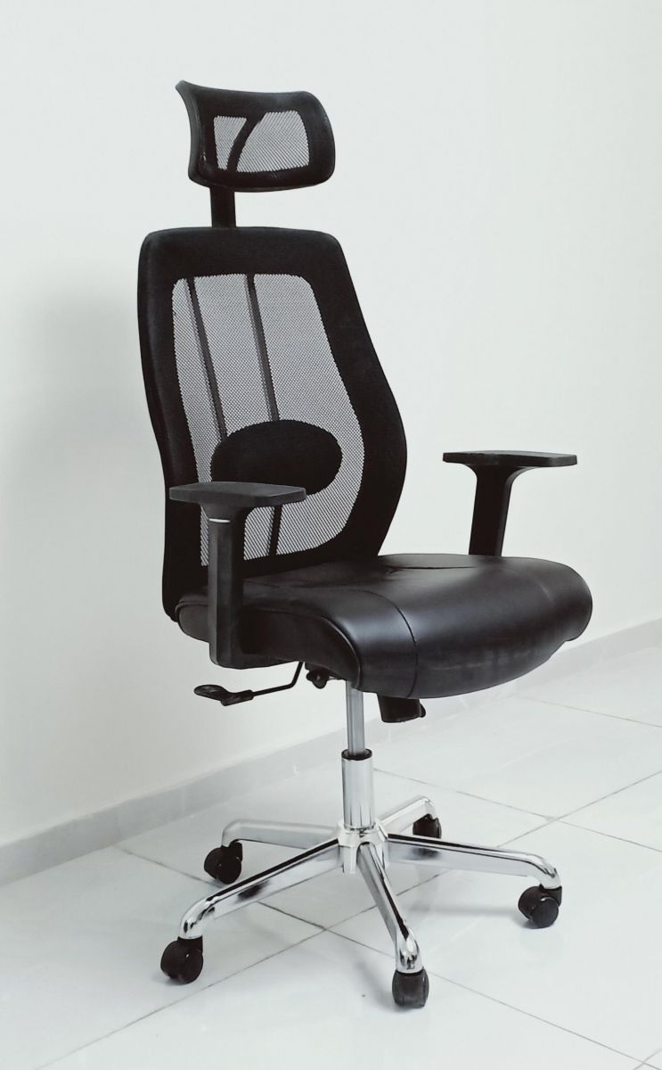 Kivik Faux Leather and Mesh High Back Chair with Armrest, Recliner Napping, Height Adjustable Chair, Black