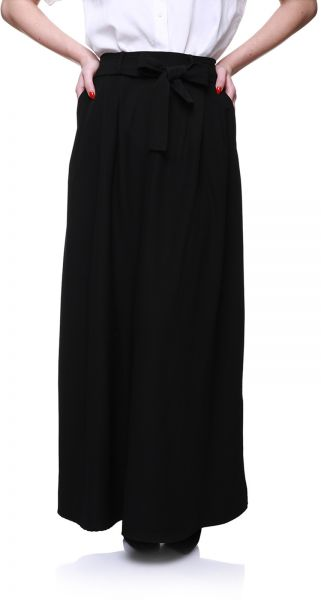 fc21b4f6b4ef67 Andiamo A-Line Bow-Front Elastic-Waist Maxi Skirt with Side Pockets for  Women - Black