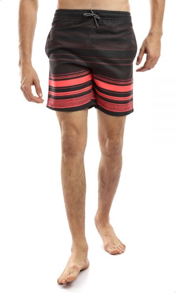 92ae1ce151 Ravin Striped Elastic Waist Swimming Shorts with Side Pockets for Men -  Black and Orange