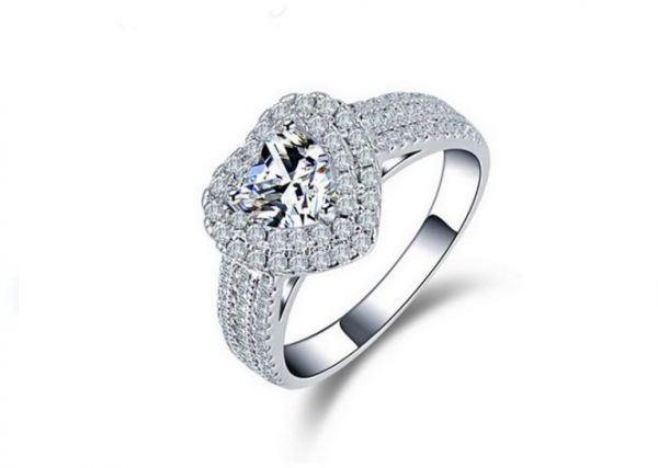 Sterling Silver Princess Cubic Zirconia Eternity Engagement Wedding Ring