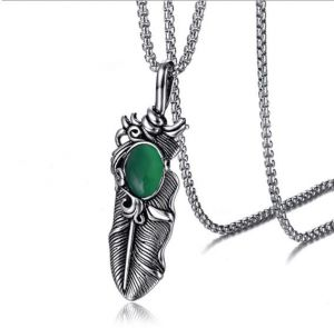 5f0371b0dc3826 Stainless Steel Fashion Men Necklace Pendant Green Retro Feather Link 20Inch