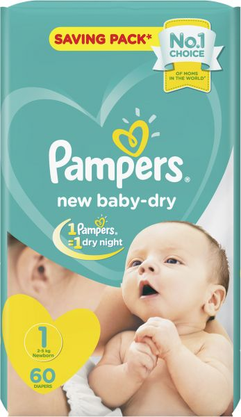 55aa584e0d Pampers New Baby-Dry Diapers, Size 1, Newborn, 2-5kg, 60 Count ...