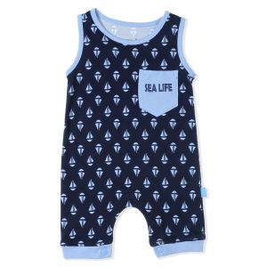 944702f30 Junior Cotton Boat-Print Sleeveless Chest-Pocket Snap Closure Romper for  Boys - Navy