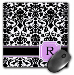3D Rose Letter G Monogrammed Mint Blue Black and White Damask Pattern-Classy Personalized Initial Towel 15 x 22 Multicolor