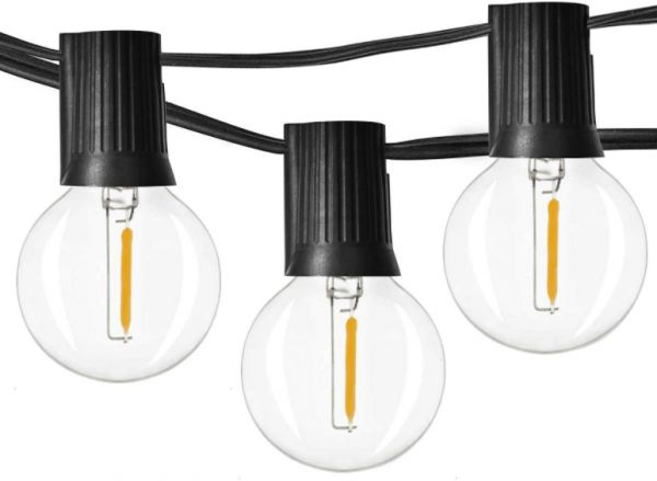 48ft LED Globe String Lights Dimmable Edison Light Bulb with 25 G40 Vintage Edison LED Bulbs 1W 60Lm 2500K Warm Glow for Indoor/Outdoor Decoration and lighting - Black