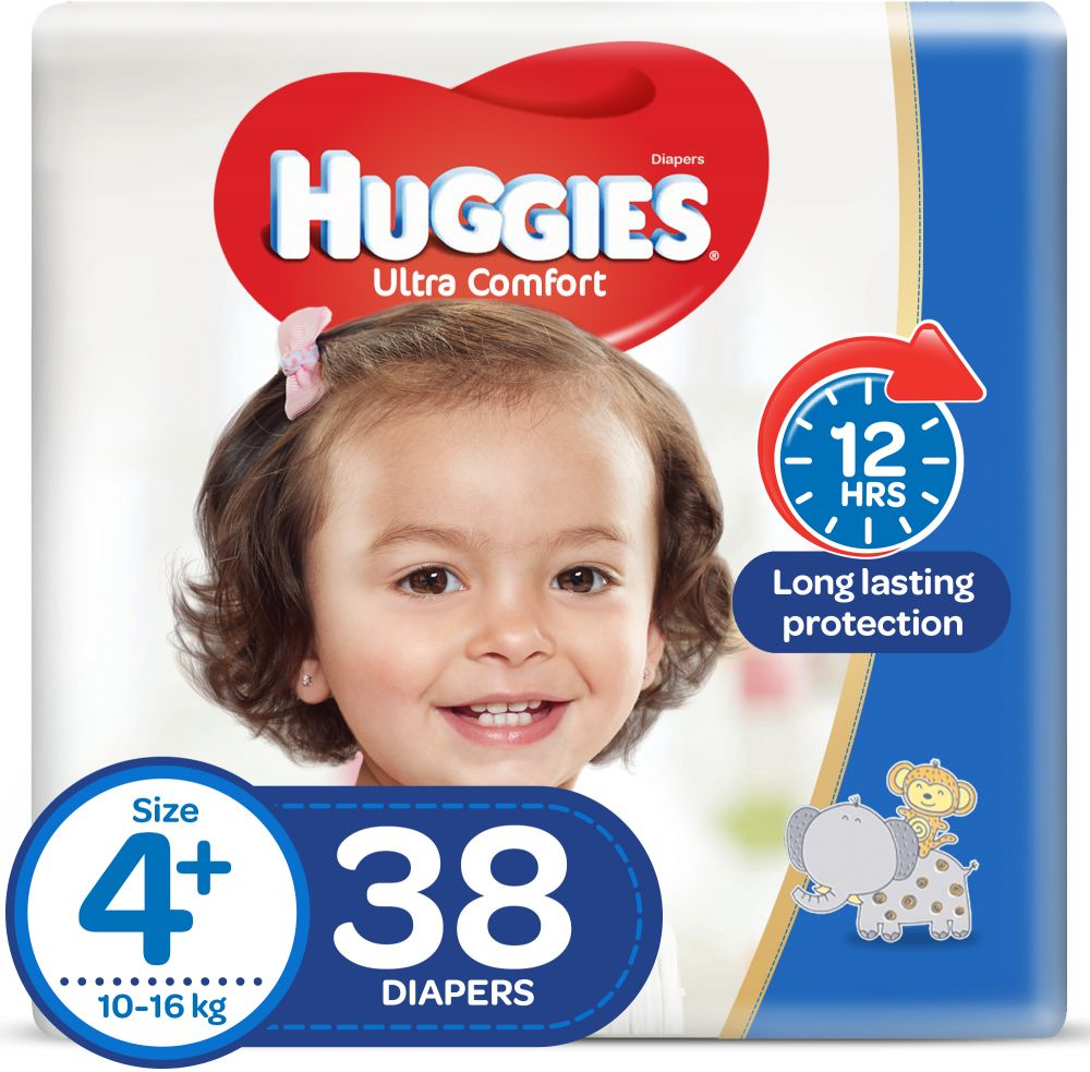 Huggies Ultra Comfort, Size 4+, 10-16 kg, Value Pack, 38 Diapers