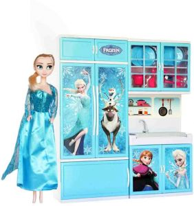 Frozen Elsa Doll With Kitchen Set Of 12 Pieces Large Size Buy Online Toys At Best Prices In Egypt Souq Com