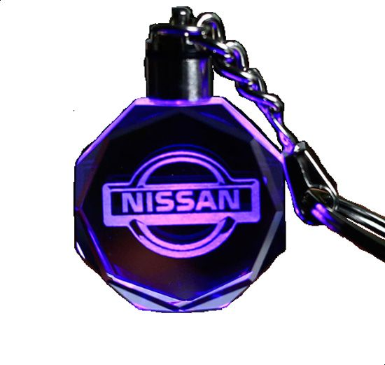 Keychain Keyring Nissan Car Logo with changing color light