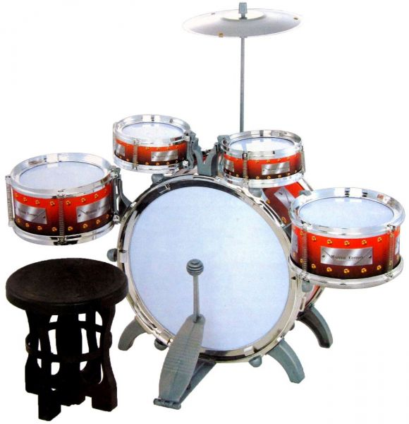 Jazz Drum Set With Chair Music Toy Instrument For Kids 10 Pc